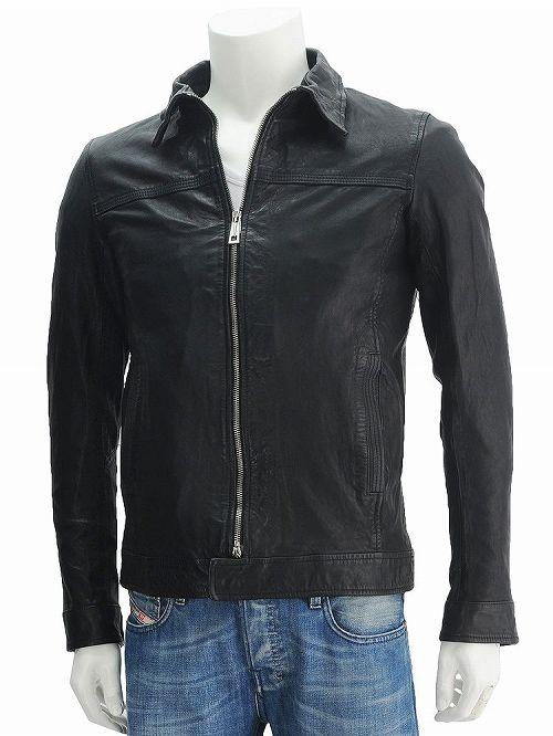 マーシャー  MUSHER ブラック 09025 裾バンドで短丈を強くアピール Wジップ式シングルライダース ブラックラムレザーブルゾン] スーパースリム 綺麗めヴィンテージ メンズ バイカーズ