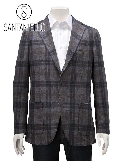 SANTANIELLO サンタニエッロ 国内正規品 メンズ 段返り 3つボタン テーラードジャケット GL7280MF コットン ウール チェック グレー厚手