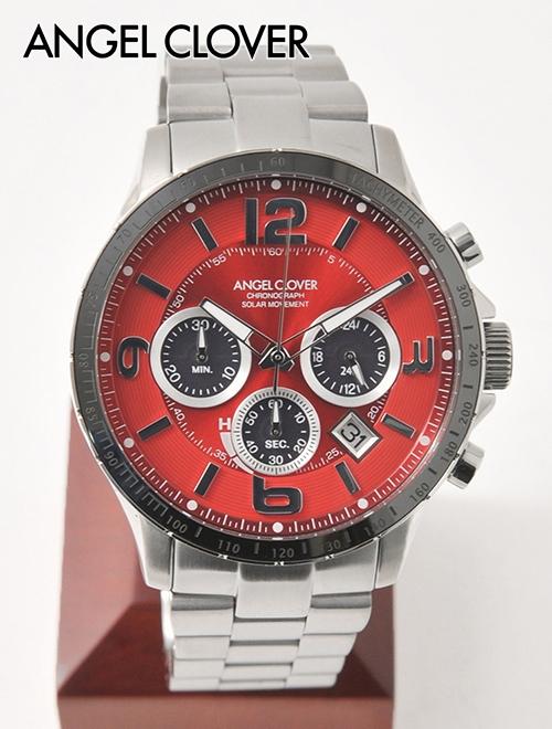 腕時計 CRAFT  ソーラークオーツ 公式ブランド 国内正規品 レッド AngelClover エンジェルクローバー でらでら メタルブレスレット ラウンド TIME SOLAR メンズ タイムクラフト