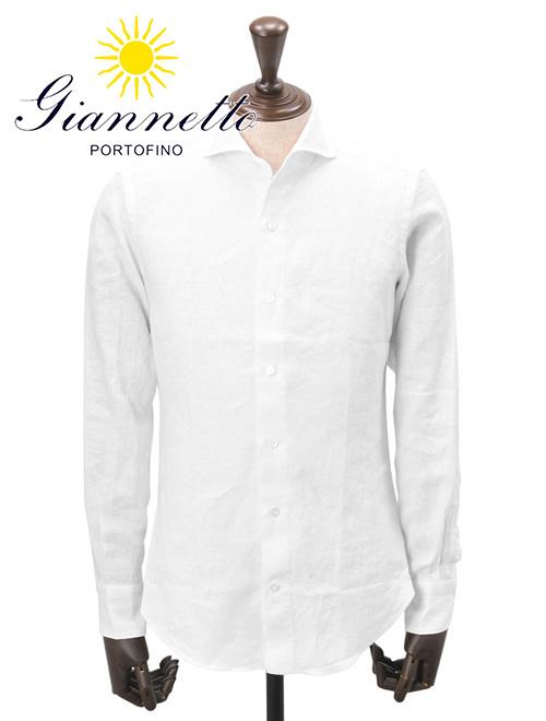 ジャンネット  GIANNETTO 国内正規品 メンズ 長袖カジュアルシャツ リネン 麻 ホワイト 定番 845000 スリムフィット ホリゾンタルカラー イタリア製 でらでら 公式ブランド