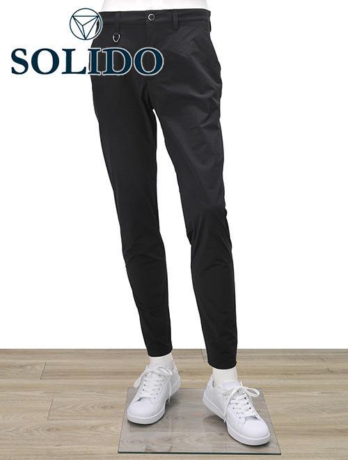 ソリード  SOLIDO ストレッチスラックス メンズ イージーパンツ ブラック 20s5553 ポリエステル100% 内側ドローコード 形状記憶地 国内正規品 でらでら 公式ブランド