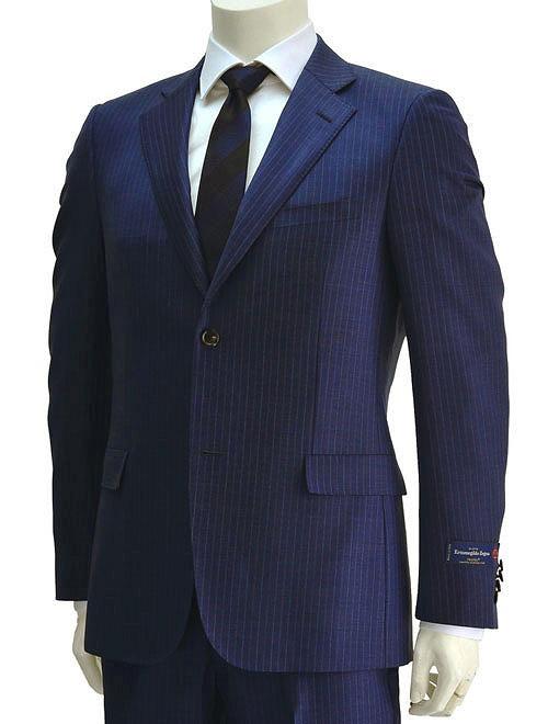 Cloth by Ermenegildo Zegna エルメネジルド ゼニア TROFEO トロフェオ 明るめのブルー 白織りストライプ柄 艶増しウールクロス スリムフィット2つボタンシングルスーツ