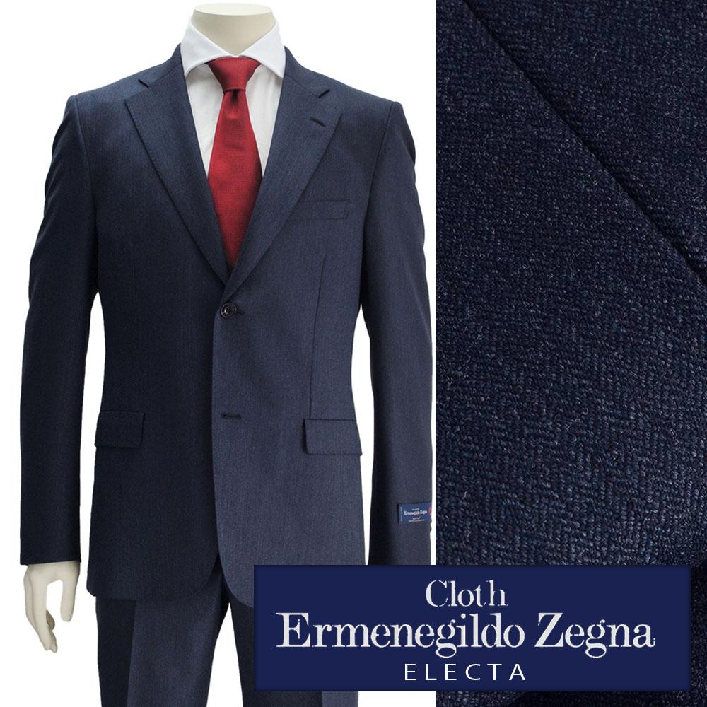 Cloth by Ermenegildo Zegna エルメネジルド ゼニア  メンズスーツ ELECTA エレクタ ネイビー ウール ヘリンボン柄 2つボタンシングル