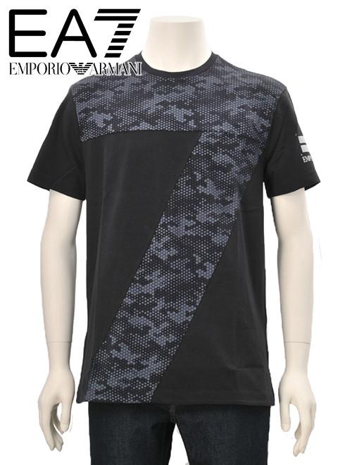 エンポリオアルマーニ  EA7 ARMANI メンズ 半袖Tシャツ ブラック 鹿の子風の軽量ストレッチクロス 7カモフラージュロゴ スポーツ カットソー でらでら 公式ブランド