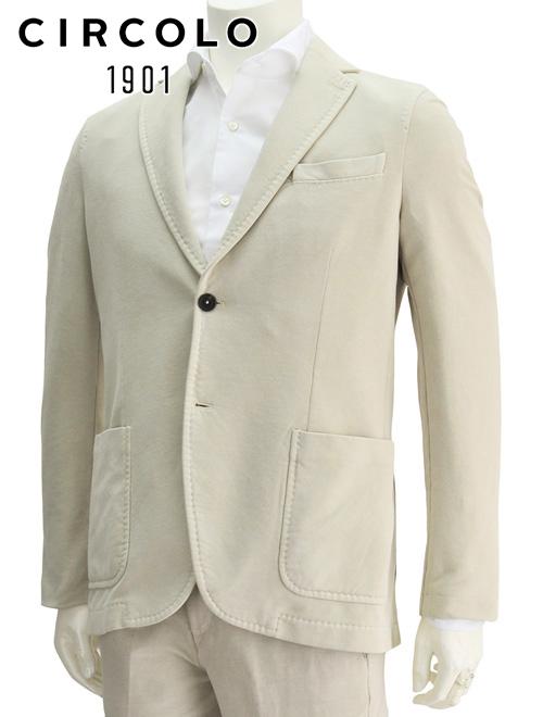 チルコロ  国内正規品 CU1550 CIRCOLO 1901 ベージュカラー 温もりタッチ アンコンジャージジャケット 2つボタン サイドベンツ ガーメントダイ スウェットクロス製 メンズ 新作 でらでら 公式ブランド