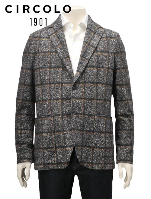 【クリアランスSALE30%off】チルコロ  CIRCOLO 1901 国内正規品 メンズ ジャージー シングルジャケット イエローライン チェック ツイードプリント 杢グレー コットンスウェット CN2417 でらでら 公式ブランド