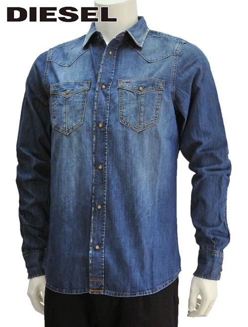 【最終クリアランス】ディーゼル  DIESEL D-BROOME 濃いめウォッシュブルー ジーンズのヒップポケットを胸元にデザイン!綺麗めヴィンテージデニム風シャンブレー長袖カジュアルシャツ