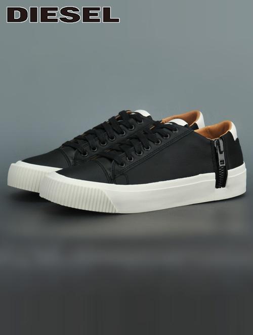 ディーゼル  DIESEL ブラック でかサイドジップ S-VOYAGE LOW トリートメントレザーアッパー ローカットスリッポンシューズ レース メンズ靴
