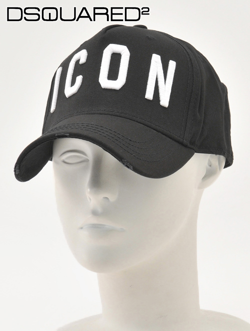 ユニセックス 公式ブランド コットン  【17周年SALEはPoint8倍】ディースクエアード ベースボールキャップ ブラック&ホワイト ダメージ加工 ロゴ刺繍 でらでら 帽子 メンズ DSQUARED2 ICONシリーズ 国内正規品