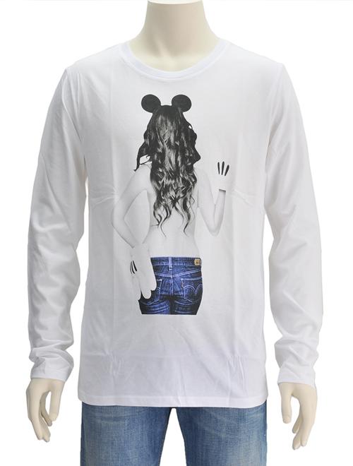 ノーコメント パリ  NO COMMENT PARIS LTN23 ホワイト ミッキーマウス&ブルジーンズヒップ ウーマンプリントロンT 長袖Tシャツ フランス製