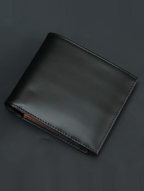 エッティンガー  ETTINGER 142JR ブラック 濃いオレンジイエロー内革 3面&コインパース裏付けした二つ折り財布 ビルフォードウォレットブライドルレザー