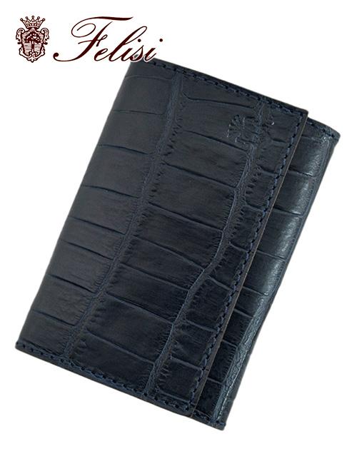 フェリージ  国内正規品 felisi ブルー 紺色 クロコ型押しレザー 450/SA カードケース メンズ 名刺入れ ブランド