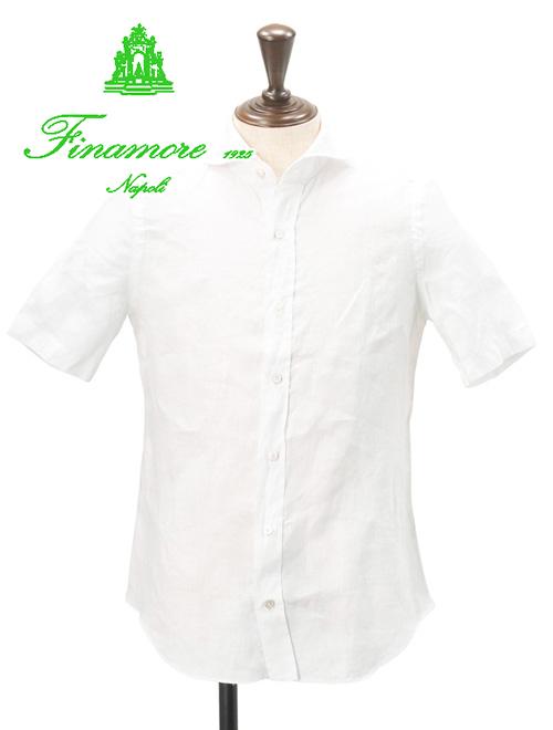 フィナモレ  Finamore メンズ リネンシャツ Giglio ジーリョ 半袖 白無地 麻 ホワイト ショートスリーブ イタリア でらでら 公式ブランド