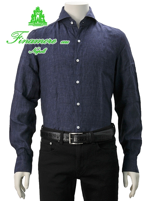 フィナモレ  Finamore メンズ 定番リネンシャツ SERGIO セルジオ 18番色 暗めのインディゴ ネイビー 麻 ホリゾンタルカラー カッタウェイ