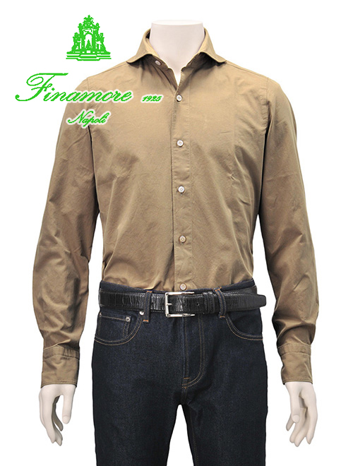 フィナモレ  Finamore SERGIO セルジオ メンズ カジュアルシャツ ブロードコットン 長袖 カーキベージュ ブラウン ミリタリー 厚手 秋冬 あたたかい スリム セミワイドカラー襟 ホリゾンタル でらでら 公式ブランド