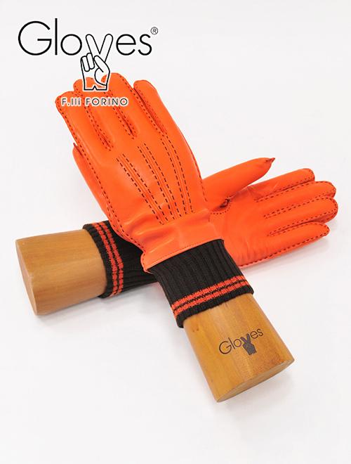 【2020/21秋冬新作】Gloves -fa196- グローブス ラムレザーニット切替レザーグローブ メンズ グローブス  gloves 革手袋 メンズ fa196 オレンジ 3本ライン ブラックステッチ ラムレザーグローブ リブニット 裏カシミア混 イタリア製 でらでら 公式ブランド