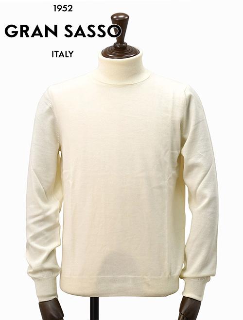 グランサッソ  GRAN SASSO アイボリー エクストラファインウール ハイゲージロールネックニット タートルネック イタリア メンズセーター 19秋冬