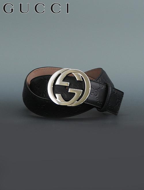 グッチ  GUCCI 114984-aa61n-1000 マットブラック 40mm幅 グッチシマ模 インターロッキングGバックル ピンで固定するメンズレザーベルト