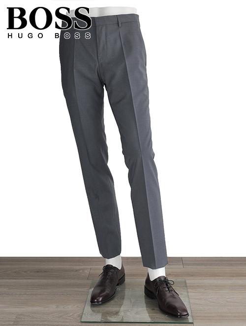 ヒューゴボス  HUGO BOSS Genesis-4 チャコールグレー クラシック サマーウール100%スラックス ドレスパンツ 18春夏 ※股下数値要確認