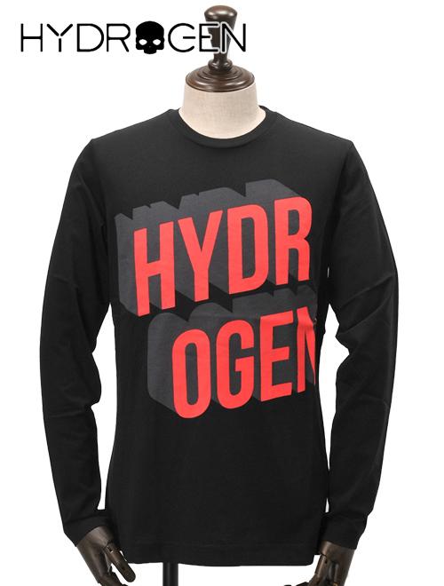 ハイドロゲン  HYDROGEN 80S T-SHIRT LS ブラック/レッド ビッグなブランドロゴデザインの長袖カットソー クルーネックTシャツ 18春夏