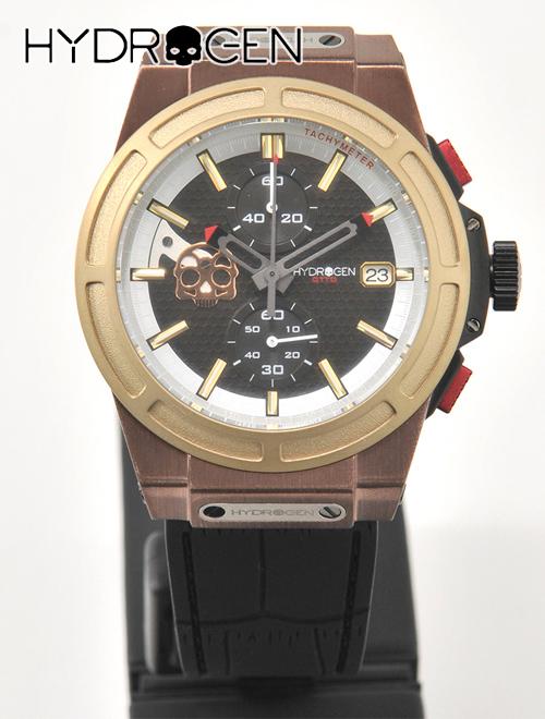 【決算SALEはクーポンで10%off】HYDROGEN WATCH  ハイドロゲン 国内正規品 メンズ ウォッチ OTTO オットー クロノグラフ スカル アナログ クォーツ カッコいい 腕時計 ゴールドミックス ブラックラバーバンド でらでら 公式ブランド
