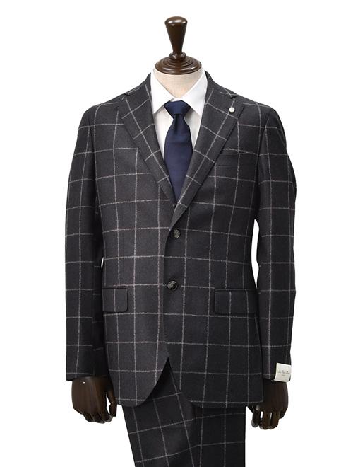 Luigi Bianchi Mantova  ルイジ ビアンキ イタリア製 マントバ チャコールグレー ウール 2つ釦シングルスーツ ウィンドウペン 国内正規品 メンズ でらでら 公式ブランド