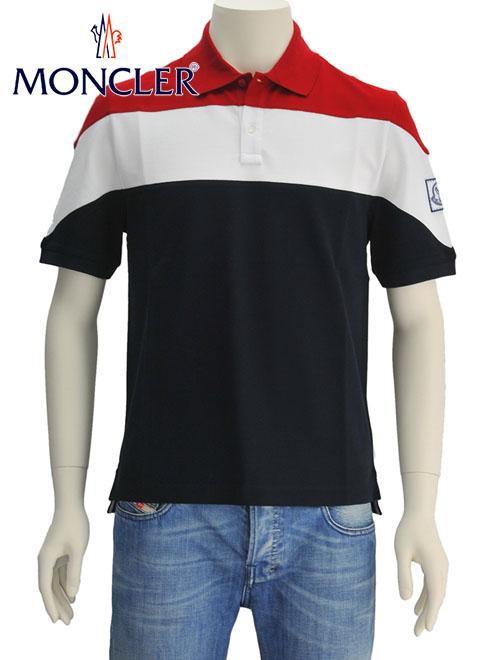 モンクレール ガムブルー  Moncler GAMMEBLEU トリコロール3分割 2つ釦ライトコットンピケ 鹿の子 左袖ワッペン半袖ポロシャツ メンズ