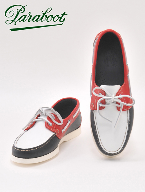 Deradera | Rakuten Global Market: Tricolor deck shoes paraboot Bath of the para-boots white & navy & red color combination