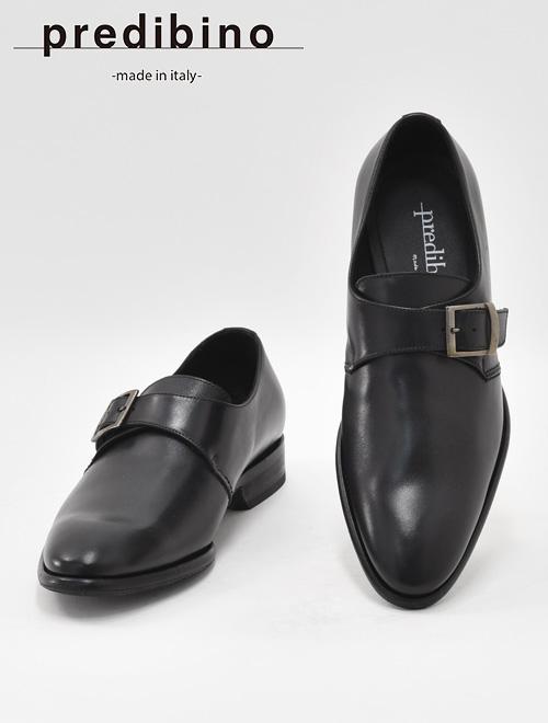 プレディビーノ  Predibino メンズ レザーシューズ シングル モンクストラップ モダンな革靴 TINOティノラスト プレーントゥ ブラック でらでら 公式ブランド かっこいい