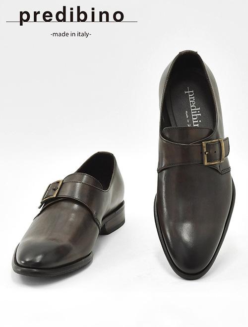 プレディビーノ  Predibino メンズ レザーシューズ シングル モンクストラップ ダークブラウン グラデーション モダンな革靴 TINOティノラスト プレーントゥ でらでら 公式ブランド かっこいい