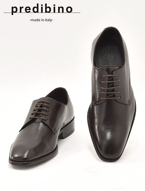 プレディビーノ  Predibino メンズ イタリアンレザーシューズ 内羽根プレーントゥ チョコレート ダークブラウン ドレス ビジネス靴 でらでら 公式ブランド