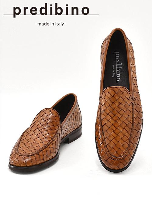 プレディビーノ  Predibino メンズ レザーシューズ スリッポン 編み込み イントレチャート パーティー モダンな革靴 TASCAタスカ型 でらでら 公式ブランド かっこいい キャラメルブラウン