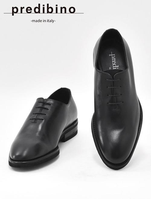 プレディビーノ  Predibino メンズ レザードレスシューズ パーティー モダンなホールカット イタリア製 ブラック ビジネス フォーマル 革靴 シルバーラスト型 でらでら 公式ブランド かっこいい
