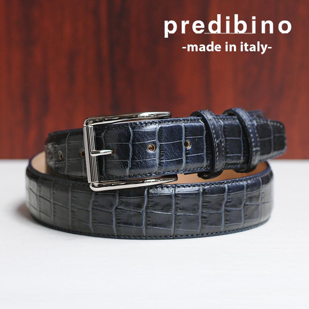 レザーベルト 公式ブランド プレディビーノ  でらでら 紺 ネイビー クロコ型押し 長さカット調整 イタリア製 1605manデザイン メンズ 35mm幅