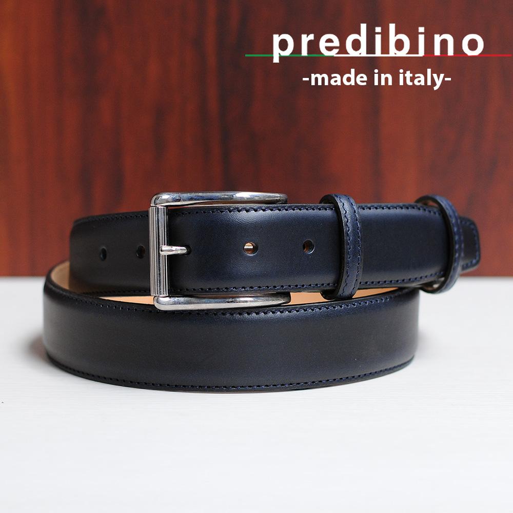 プレディビーノ  pred1505mj-blu同型 上品な艶有り ネイビースムースレザーベルト イタリア製 長さカット式フリーサイズ 35mm