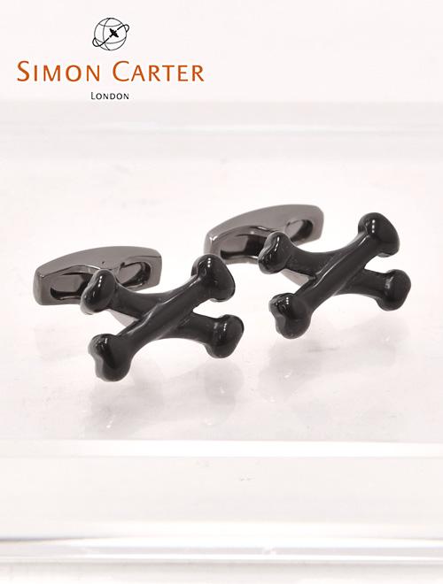 【最終クリアランス】サイモンカーター  1610003  SIMON CARTER Crossbones Onyx Cufflinks ブラックオニキス クロス しゃぶりつきたくなる骨モチーフのカフリンクス メンズ カフス
