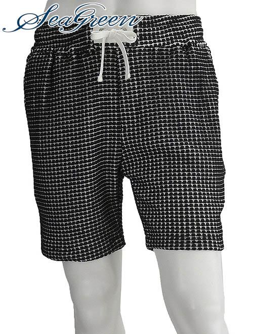 シーグリーン  Seagreen 19sと20sは同品番 メンズ ハーフパンツ ショーツ オニ ビッグワッフル ブラック リラックス ゴムウエスト 国内正規品 でらでら 公式ブランド