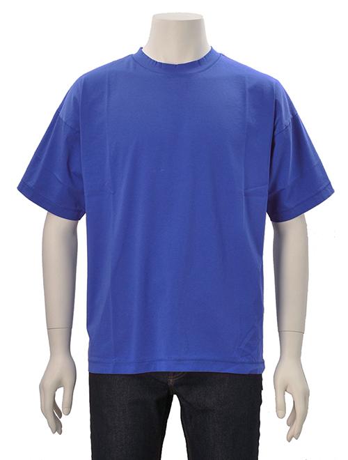 ヴィ ルーム  v::room メンズ 半袖Tシャツ ブルー ワイドリブ クルーネック 無地 半袖カットソー メイド イン ジャパン