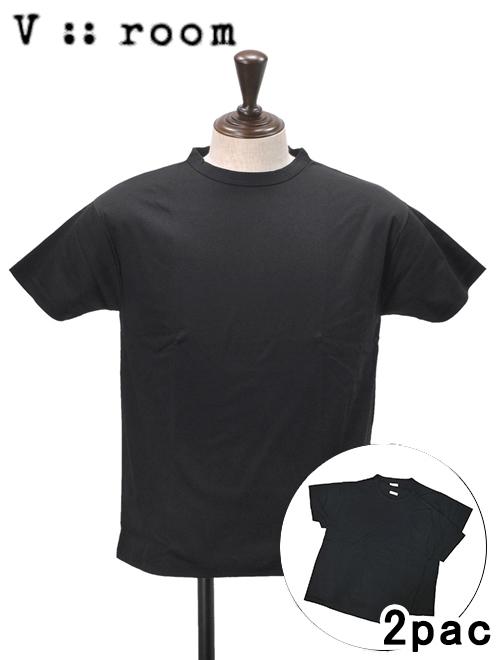 ヴィ ルーム  v::room メンズ 半袖Tシャツ ブラック 薄手クルーネック 2枚パック 半袖カットソー メイド イン ジャパン