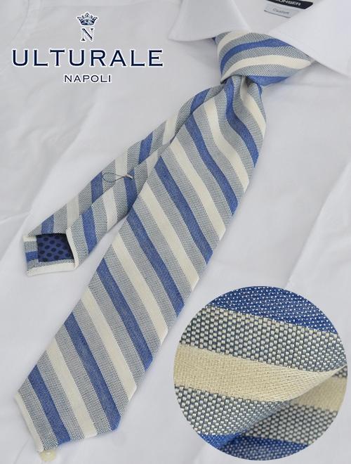 ウルトゥラーレ  ULTURALE イタリア製 ブルー等幅レジメンタル リネンコットンネクタイ 清涼 水玉裏地 ブランド