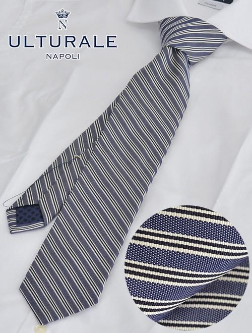 ウルトゥラーレ  ULTURALE イタリア製 メンズ ビジネス ネクタイ トレピエゲ 3つ折りネクタイ 大剣7.5cm ネイビーブルー レジメンタル オルタネイト でらでら 公式ブランド