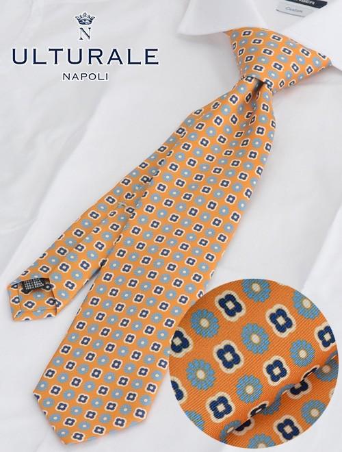 ウルトゥラーレ  ULTURALE オレンジ 小紋フラワー柄シルクネクタイ 共裏地 メンズアクセサリー18春夏