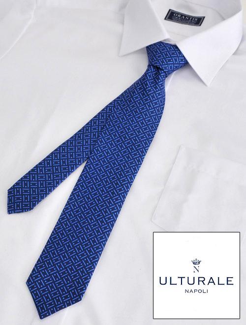 ウルトゥラーレ  ULTURALE イタリア製 メンズ アクセサリー シルク100% ジオメトリック ブルー&ブルー トレピエゲ 3つ折りネクタイ 剣先幅7cm ナロー