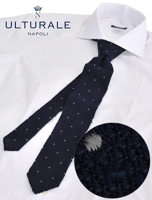ウルトゥラーレ  ULTURALE イタリア製 ネイビーカラー ドット 水玉パターン シースルー クールビズ シルク100%ざっくり織り絹 ニットタイ ブランド ネクタイ