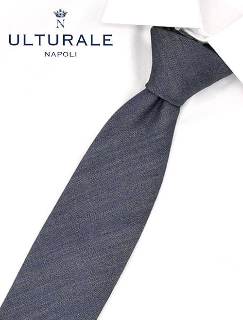 ウルトゥラーレ  ULTURALE 杢ブルーグレー系 リネン&コットン ナチュラルブレンド ナポリ製ネクタイ ブランド ネクタイ