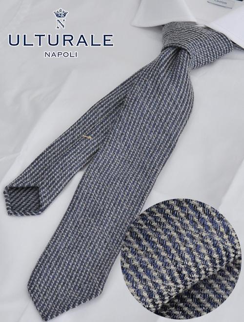 ウルトゥラーレ  ULTURALE 杢ブルー&グレー ストライプ系の織り柄 トレピエゲ 3つ折りネクタイ ウールとシルク混紡 イタリア製 メンズアクセサリー