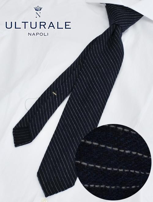 ウルトゥラーレ  ULTURALE ネイビー ホワイトレジメンタル柄 トレピエゲ 3つ折りネクタイ カシミア100% 一枚地仕立て プレゼント
