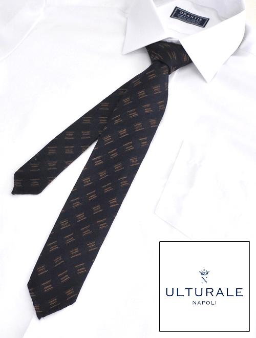 ウルトゥラーレ  ULTURALE メンズ アクセサリー ネイビー ウール&シルク 刺繍柄 トレピエゲ 3つ折りネクタイ イタリア製 剣先幅6.5cm ナロー