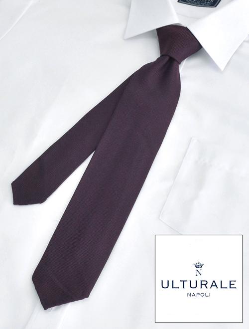 ウルトゥラーレ  ULTURALE イタリア製 メンズ 杢ボルドー ウール&シルク 無地 トレピエゲ 3つ折りネクタイ 剣先幅6.5cm ナロー