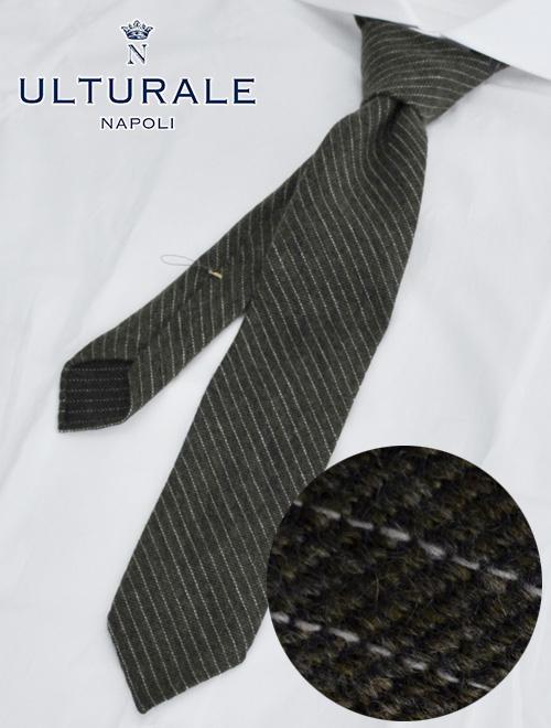 【最終クリアランス】ウルトゥラーレ  ULTURALE カーキグレー カシミア100% メランジ トレピエゲ 3つ折りネクタイ 二枚地フラノ調白ストライプミックス ネクタイ ブランド
